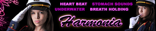 Visit Goddess Harmonia for breath holding, heart beat, underwater and stomach videos